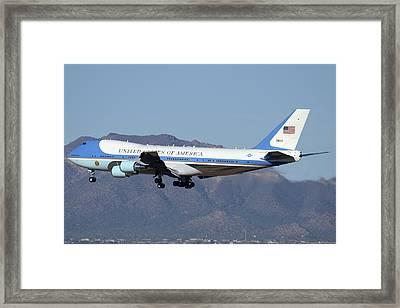 Boeing Vc-25a 82-8000 Air Force One Phoenix-mesa Gateway Airport January 25 2012 Framed Print by Brian Lockett