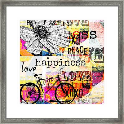 Boho Daisy Love Collage Framed Print by WALL ART and HOME DECOR