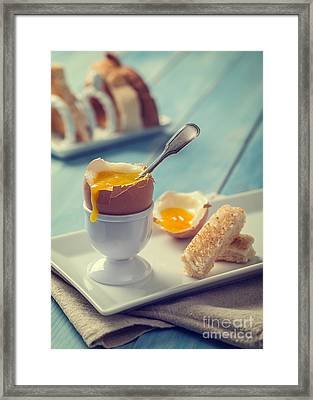 Boiled Egg With Spoon Framed Print by Amanda And Christopher Elwell