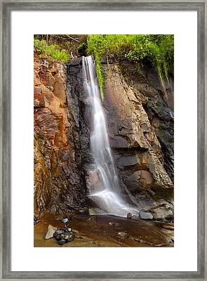 Boiler Bay Cascade Framed Print by Mike  Dawson