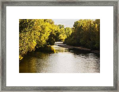 Boise River On A Fine Autumn Morning Framed Print by Vishwanath Bhat