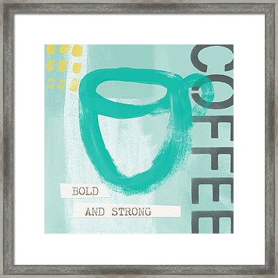 Bold And Strong In Blue- Art By Linda Woods Framed Print by Linda Woods