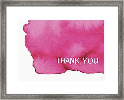 Bold Pink And White Watercolor Thank You- Art By Linda Woods Framed Print by Linda Woods