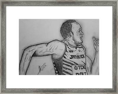 Bolt 200m Framed Print by Collin A Clarke