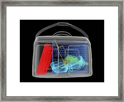 Bomb Inside Briefcase, Simulated X-ray Framed Print by Christian Darkin