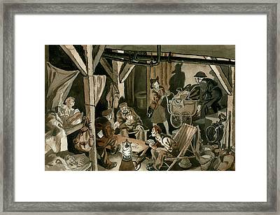 Bomb Shelter During The Blitz Framed Print by Peter Jackson
