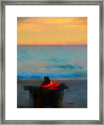 Bonfire On The Beach Framed Print by Dan Sproul