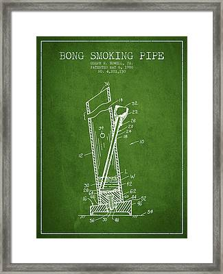 Bong Smoking Pipe Patent1980 - Green Framed Print by Aged Pixel