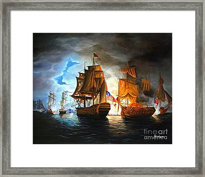 Bonhomme Richard Engaging The Serapis In Battle Framed Print by Paul Walsh