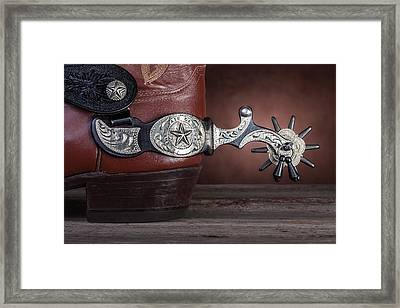 Boot Heel With Texas Spur Framed Print by Tom Mc Nemar