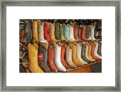 Boots In Every Color Framed Print by Brenda Bryant