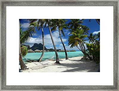 Bora Bora Beach Hammock Framed Print by Owen Ashurst