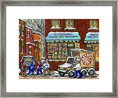 Borden's Milkman Delivery Truck At Richstone's Bakery Montreal Hockey Paintings Best Canadian Art  Framed Print by Carole Spandau