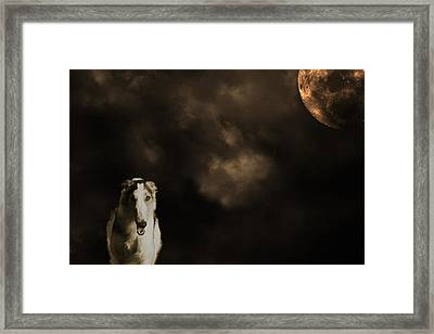 Borzoi Wolf Hound And Full Moon Framed Print by Christian Lagereek