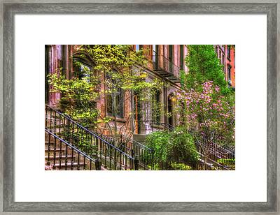 Boston Brownstones In Spring - Back Bay Framed Print by Joann Vitali