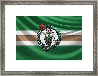 Boston Celtics - 3 D Badge Over Flag Framed Print by Serge Averbukh