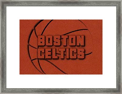 Boston Celtics Leather Art Framed Print by Joe Hamilton