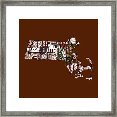 Boston Celtics Typographic Map 1 Framed Print by Brian Reaves