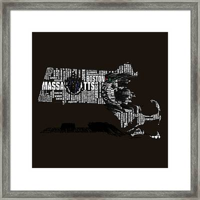 Boston Celtics Typographic Map 3b Framed Print by Brian Reaves