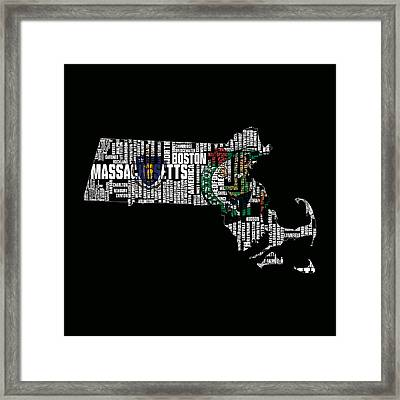 Boston Celtics Typographic Map Framed Print by Brian Reaves