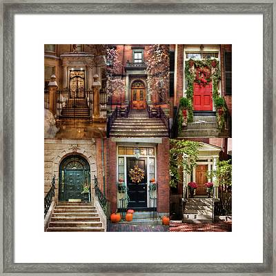 Boston Doorways - Beacon Hill Framed Print by Joann Vitali