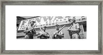 Boston Fenway Park Sign And Four Bronze Statues Framed Print by Paul Velgos