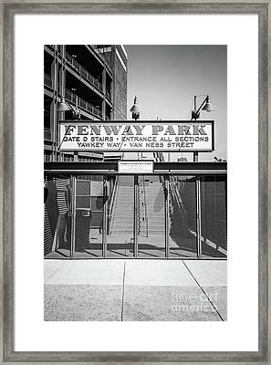Boston Fenway Park Sign Black And White Photo Framed Print by Paul Velgos
