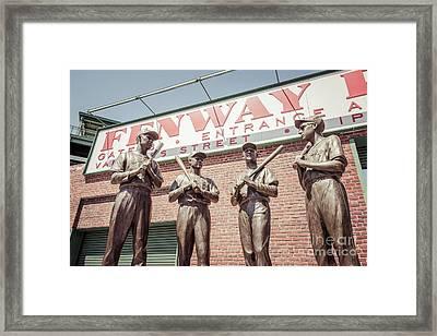 Boston Fenway Park Sign Gate B Statues Framed Print by Paul Velgos