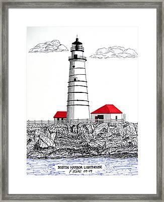 Boston Harbor Lighthouse Dwg Framed Print by Frederic Kohli