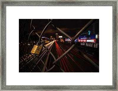Boston Love Lock Overlooking The Mass Pike Bu Boston Ma Framed Print by Toby McGuire