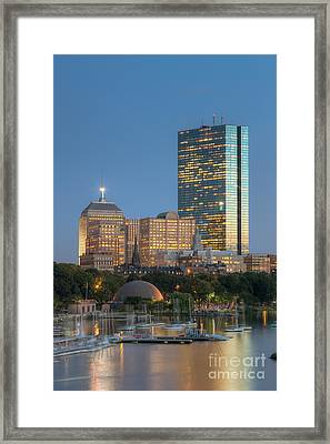 Boston Night Skyline Iv Framed Print by Clarence Holmes