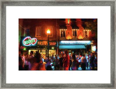 Boston North End Nights Modern Pastry - Hanover Street Framed Print by Joann Vitali