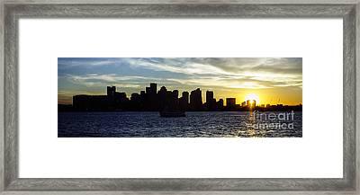 Boston Panoramic Skyline Sunset Picture Framed Print by Paul Velgos