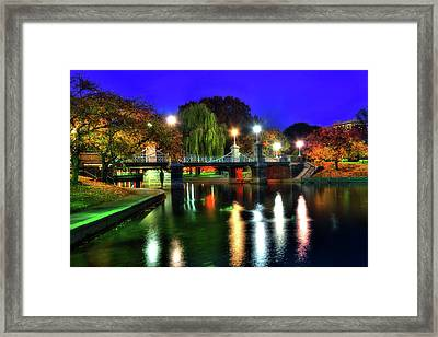 Boston Public Garden In Autumn At Night Framed Print by Joann Vitali