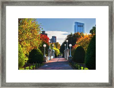 Boston Public Garden Lagoon Bridge In Autumn Framed Print by Joann Vitali