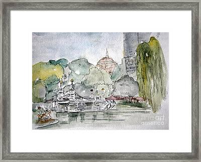 Boston Public Gardens Bridge Framed Print by Julie Lueders