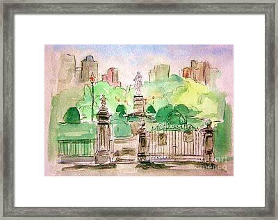 Boston Public Gardens Framed Print by Julie Lueders