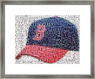 Boston Red Sox Cap Mosaic Framed Print by Paul Van Scott