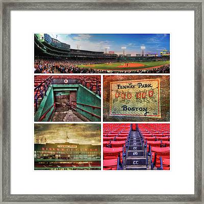 Boston Red Sox Collage - Fenway Park Framed Print by Joann Vitali