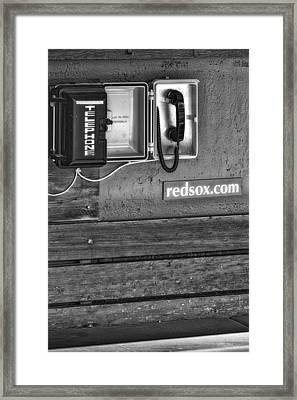 Boston Red Sox Dugout Telephone Bw Framed Print by Susan Candelario