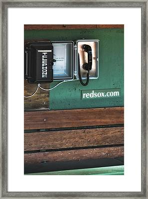 Boston Red Sox Dugout Telephone Framed Print by Susan Candelario
