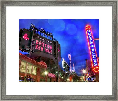 Boston Red Sox Fenway Park At Night  Framed Print by Joann Vitali