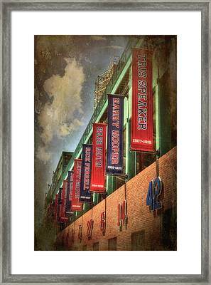 Boston Red Sox Retired Numbers - Fenway Park Framed Print by Joann Vitali