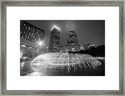 Boston Reflecting Pool Fountain Boston Ma Black And White Framed Print by Toby McGuire