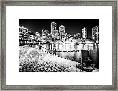 Boston Skyline At Night Black And White Picture Framed Print by Paul Velgos