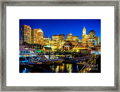 Boston Skyline At Night Framed Print by Paul Velgos