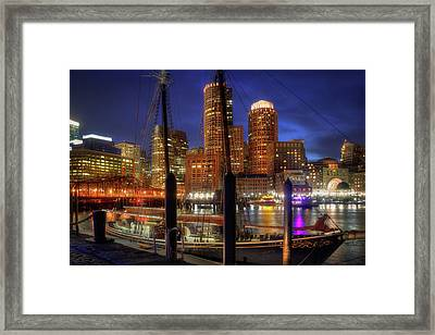 Boston Skyline At Night - The Roseway - Boston Harbor Framed Print by Joann Vitali