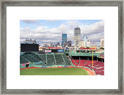 Boston Skyline From Fenway Park Framed Print by Dawna  Moore Photography