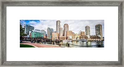 Boston Skyline Harborwalk Panorama Picture Framed Print by Paul Velgos