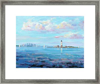 Boston Skyline Framed Print by Laura Lee Zanghetti